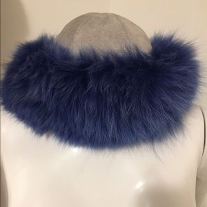 Accessories - Suede and fox fur hat.